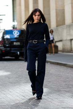 What to Wear to Work, Navy Edition: Long Sleeve Top, Belted Wide-Leg Navy Pant