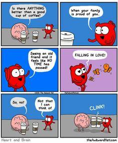 Heart and brain Akward Yeti, The Awkward Yeti, Cute Comics, Funny Comics, Funny Cartoons, Funny Memes, Jokes, Heart And Brain Comic, Funny Cute