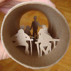 Anastassia Elias criou surpreendentes obras de arte no interior de rolos de…