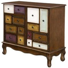 Add fun and funky style to your d?cor with this 2 Door/1 Drawer Decorative Chest from StyleCraft Home Collection. This multi-colored chest is made out of wood and features one drawer on the top left and then 2 doors with more storage options. The door on right has an area to store wine glasses with a built in stem rack. The doors highlight mock drawers with multiple knobs creating a fun and adventurous focal piece sure to spark conversations. This will pair well with eclectic styling. Unique Furniture, Painted Furniture, Weird Furniture, Upcycled Furniture, Living Room Furniture, Home Furniture, Kitchen Furniture, Furniture Movers, Farmhouse Furniture