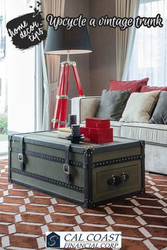 Give your room antique twist with a vintage trunk that perfectly settles in the décor yet stands out. #home #decor #CalCoastFinancialCorp
