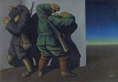 René Magritte Les chasseurs au bord de la nuit (The hunters at the edge of night)
