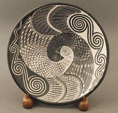 Yinyang Bird Plate by ;Richard Zane Smith - Blue Rain Gallery / Santa Fe New Mexico