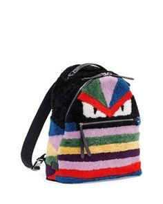Fendi Monster Fur Backpack Black Multi