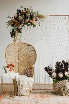 Bohemian Vibes with Allure Bridals x Wilderly Bride The Perfect Palette Bridal Shower Chair, Bridal Shower Backdrop, Boho Baby Shower, Bridal Shower Decorations, Bohemian Party Decorations, Baby Shower Chair, Decor Eventos, Boho Backdrop, Backdrop Ideas