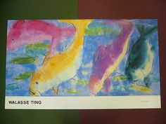 """""""4 Fishes - 4 Poissons"""" Large Print by Walasse Ting Paper - 48"""" x 28"""" Image - 48"""" x 24"""""""