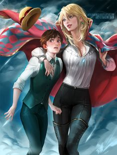 """Genderbent version of Howl and Sophie from Miyazaki's """"Howl's Moving Castle"""" - Art by SakimiArt (sakimichan.tumblr.com)"""