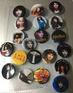 Set Of 4 Vintage Style Kate Bush Button Pin Bagdes