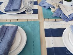 Mix and match place mats. All handmade, pure cotton.