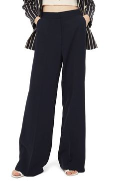 Topshop Clean High-Waist Wide Leg Trousers in Navy, Cream, or Black ad Fashion Pants, Fashion Outfits, Europe Fashion, Pants For Women, Clothes For Women, Wide Leg Trousers, Fashion Editor, Office Outfits, I Dress