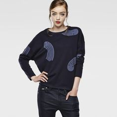 RAW FOR THE OCEANS - CROPPED BOYFRIEND SWEATER/ G-Star Raw / Curated By Pharrell Williams /Denim from recycled ocean plastic
