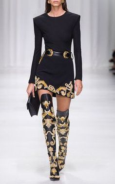 Jersey Bodysuit and Embellished Mini Dress by Versace