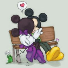 Minnie and Mickey Mouse kissing Minnie Mouse Pictures, Mickey Mouse Images, Mickey Mouse Wallpaper, Mickey Mouse Cartoon, Mickey Mouse And Friends, Mickey Minnie Mouse, Disney Wallpaper, Disney Pictures, Walt Disney