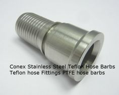 #StainlessSteelPTFEhosefittings  We at Conex manufacture Stainless Steel hose barbs Stainless Steel Teflon hose Fittings PTFE hose nipples hose barbs from high quality Stainless Steel 316 bars. These bars are CNC machined to produce high quality hose fittings and hose barbs for PTFE hoses