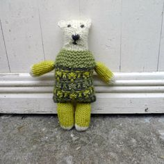 Stuffed animal doll handknit with wool from my sheep, natural white and naturally/plant dyed by FormerlyFleece on Etsy