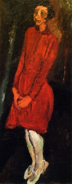 chaïm soutine(1894-1943), the red dress, c. 1924. oil on canvas, 81.3 x 34.3 cm. private collection http://www.the-athenaeum.org/art/full.php?ID=56678