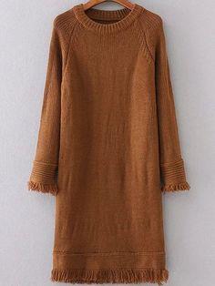 Brown Raglan Sleeve Fringe Trim Sweater Dress