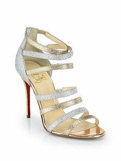Christian Louboutin Marniere Strappy Glitter Sandals #DressUpPartyDown