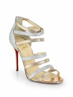 Christian Louboutin - Marniere Strappy Glitter Sandals - Saks.com