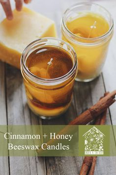 Cinnamon + Honey Beeswax Candles — Under A Tin Roof™ Jam Jar Candles, Diy Candles Scented, Homemade Candles, Candle Jars, Homemade Slime, Making Beeswax Candles, Cinnamon Candles, Sand Candles, Aromatherapy Candles