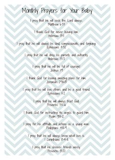 Twelve prayers to pray over your baby. One for each month of the baby's first year.