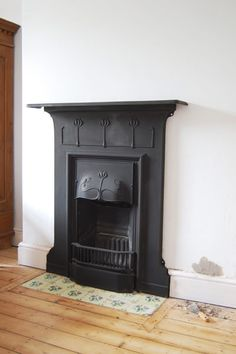 Fantastic Pic wooden Fireplace Hearth Popular Best Screen Fireplace Hearth removal Style Yay, we managed to install the fireplace in our guest b Fireplace Hearth Tiles, 1930s Fireplace, Edwardian Fireplace, Wooden Fireplace, Black Fireplace, Bedroom Fireplace, Home Fireplace, Living Room With Fireplace, Fireplace Design