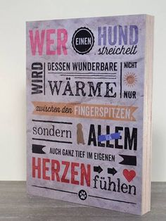 Retro-SchilderHundefreund-Holzschild: Wer einen Hund streichelt ...