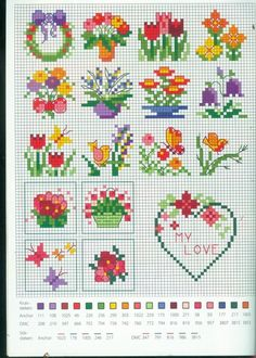 "Floral Cross Stitch Pattern Could also use yarn to ""back stitch"" on pixel crochet blankets @ Biscornu Cross Stitch, Tiny Cross Stitch, Cross Stitch Needles, Cross Stitch Cards, Cross Stitch Borders, Cross Stitch Designs, Cross Stitching, Cross Stitch Embroidery, Cross Stitch Patterns"