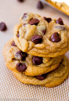 Soft-Baked Chocolate Chip Cookies. Cornstarch makes them so soft, thick, and puffy! Love these. sallysbakingaddiction.com