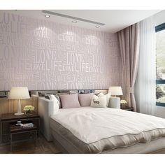 Flock Palabras con textura en relieve las letras del papel pintado moderno Decoración decoración de paredes Oro / púrpura / gris / rosa