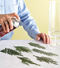 spraying-evergreen-4be55b74 Christmas Table Decorations, Christmas Candles, Rustic Christmas, Simple Christmas, Christmas Ornaments, Christmas Crafts To Make, Holiday Crafts, Glass Candle, Holidays