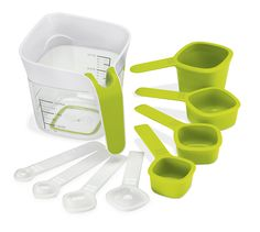 Stack & Store Measuring Set • Make maximum use of valuable storage space - cleverly nests for easy storage • A complete set of measuring tools in one location • Metric and imperial measuring jug • Individual measurements indicated on the cups and spoons • Spoon Measurements: Π Tsp / 2.5ml • 1 Tsp / 5ml • Π Tbsp / 7.5ml • 1 Tbsp / 15ml • Cup Measurements: Σ Cup / 60ml • Π Cup / 125ml • √ Cup / 185ml • 1 Cup / 250ml • Measuring/Mixing Jug: 1 Ltr Jug / 1000ml (Order Code: ZBL-L207P)