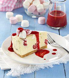 Cadbury White Chocolate, Marshmallow, and Raspberry Cheesecake - Recipe