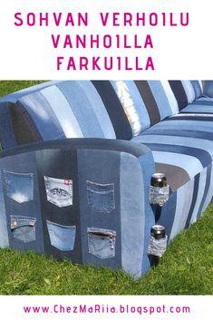 Verhoile kulunut sohva vanhoilla farkuilla - kierrätystä parhaimmillaan! #Verhoilu #Sohva #Farkut #Kierrätys Mantra