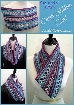 Candy Ribbons Cowl Free Crochet Pattern by Jessie At Home