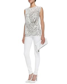 Rumor Printed Draped Sleeveless Top & Maria High-Rise Skinny Jeans by J Brand Jeans at Neiman Marcus.