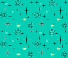Atomic Starburst on Turquoise fabric by lillierioux on Spoonflower - custom fabric Mid Century Modern Art, Mid Century Art, Mid Century Design, Modern Art Deco, Mid-century Modern, Turquoise Fabric, Retro Images, Bendy And The Ink Machine, Retro Pattern