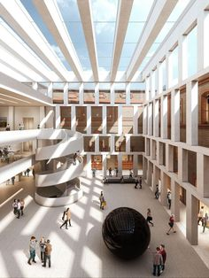 New Art Gallery Architecture Drawing Ideas Museum Architecture, Cultural Architecture, Stairs Architecture, Interior Architecture, Atrium Design, Museum Plan, Galerie D'art, Design Museum, State Art