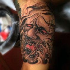Japanese Mask Inner Arm Male Tattoos Inner Arm Tattoos 54e3cac9d