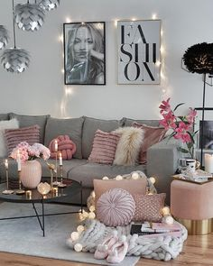 How To Decorate Bedroom For Romantic Night All the hygge feels in this living room. Beautiful pink and grey layering with cotton ball lights, perfect pink vase and candles. Romantic Room Decoration With Candles Romantic Living Room, French Living Rooms, Living Room Decor Cozy, Living Room Grey, Small Living Rooms, Living Room Designs, Living Room Furniture, Bedroom Decor, Bedroom Designs