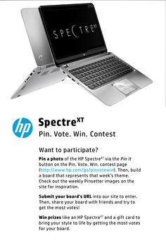 Promo HP Spectre Pin Vote Win Contest no Pinterest