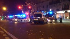 From yesterdays terrorist attack, police in a firefight with terrorists .  Police can be seeing feeling with a civilian.