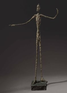 Alberto Giacometti L'homme au doigt, Signed and numbered 'A Giacometti Inscribed with foundry mark 'Alexis Rudier Fondeur Paris'. Bronze with patina and hand-painted by the artist. Height: 69 in. Alberto Giacometti, Modern Art, Contemporary Art, Walking Man, Tate Gallery, Antique Interior, Abstract Expressionism, Art History, Statues