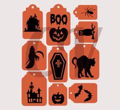 Frame Clipart Orange and Black Halloween Scrapbook Labels Printable Paper Embellishments Scrapbooking Border Witch Cat Haunted House Pumpkin