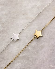 Dainty Star Bracelets in sterling silver and gold-plated sterling silver. Arrow Necklace, Plating, Sterling Silver, Stars, Bracelets, Gold, Jewelry, Jewlery, Bijoux
