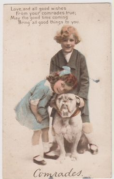 BULLDOG & YOUNG GIRLS RPPC real photo postcard  postcard. Divided Back (c. 1907-1915). Pinned by Judi Crowe.