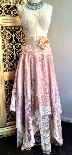 Ivory & dusty rose appliqué lace boho handkerchief hem prom dress by mermaid miss k. $150.00, via Etsy.