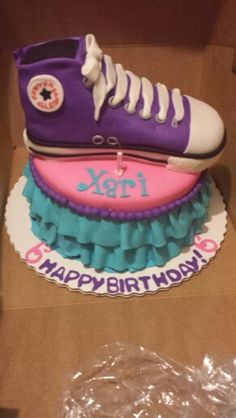 My Daughter TuTu and Tennis Shoe Cake for her 6th Bday (Converse cake,  Rockstar cake)