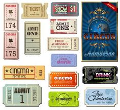 Grunge movie tickets and labels from Free Vector Graphics blog.