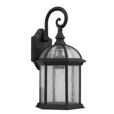 Larger Sconce from Overstock - Transitional Black / Clear Seeded Glass 1-light Outdoor Fixture